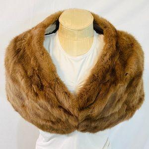 Luxurious rabbit fur shoulder stole cape tan